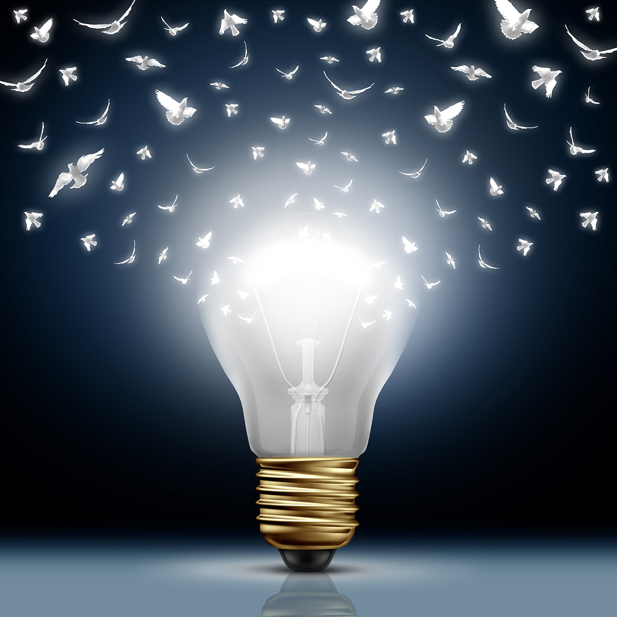 picture of light bulb bursting with ideas
