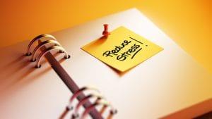 sticky note with reduce stress
