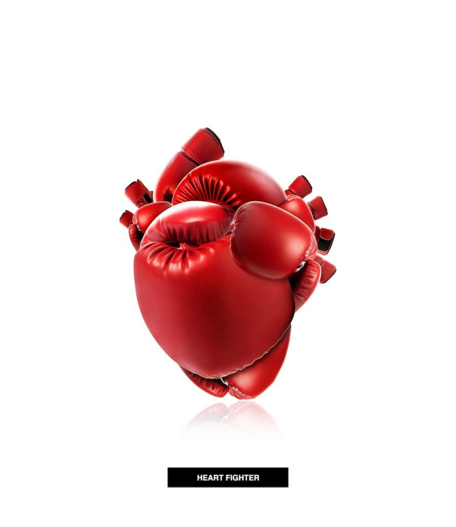Picture of heart made out of boxing gloves