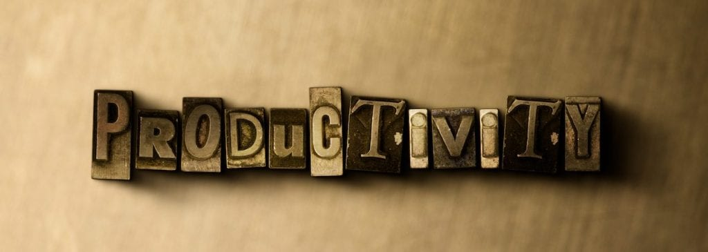 PRODUCTIVITY - close-up of grungy vintage typeset word on metal backdrop. Royalty free stock illustration. Can be used for online banner ads and direct mail.